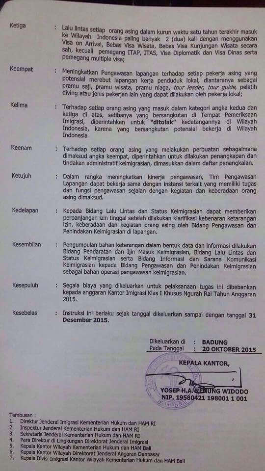 memo on visa on arrival limitations in Indonesia