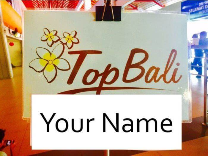 Bali airport transfer signboard